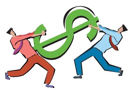 Businessmen tugging a dollar sign