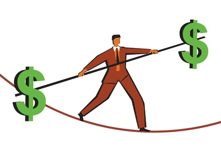 dollar signs: Businessman walking on a tightrope with a pole with dollar signs on ends
