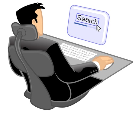 man rear view: Man using a computer to do online search