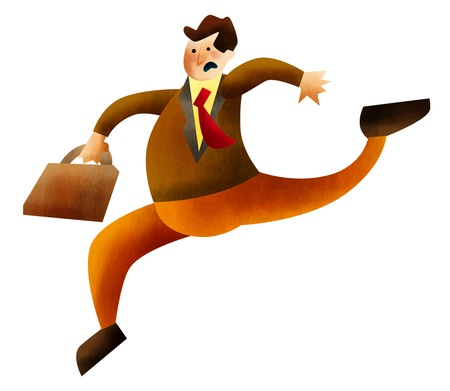 getting late: Businessman holding briefcase and running
