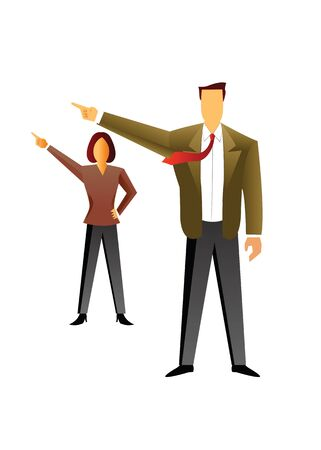 Businessman with a businesswoman pointing