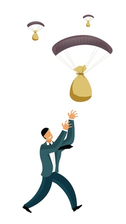 Businessmen catching money bags falling from the sky