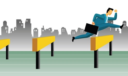 businessman jumping: Businessman jumping over hurdles  Stock Photo