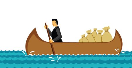 Businessman traveling in an boat with money bags in the sea  photo