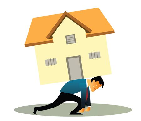 Illustrative representation of a man overburdened with housing loan  Stock Photo