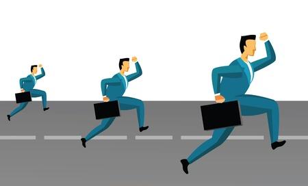 Three businessmen running on the road  photo