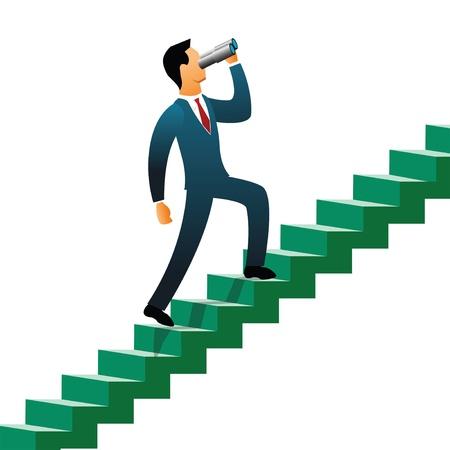 Businessmen climbing up steps   Stock Photo