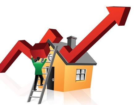Illustrative representation showing boom in real estate market Stock Photo - 9688341