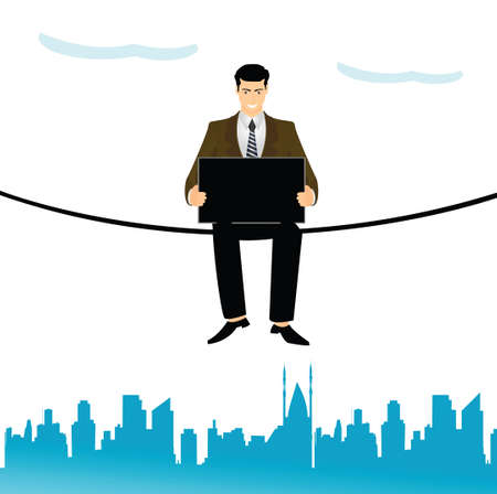 telecommunicating: Businessman sitting on a clothesline and using a laptop  Stock Photo