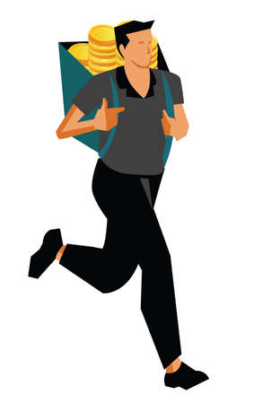 Businessman running with coins  photo