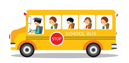 schoolchildren: School bus on its way