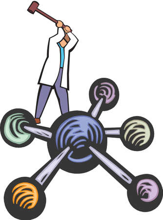 biologist: scientist working on an atomic structure