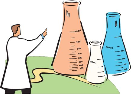 experimenting: Scientist pointing forward to beaker  Stock Photo