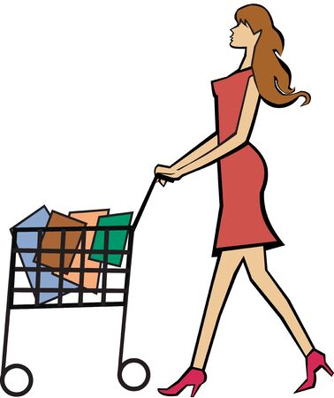retail therapy: Woman with a shopping cart