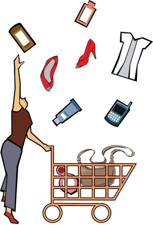 retail therapy: Woman catching shopping products  Stock Photo