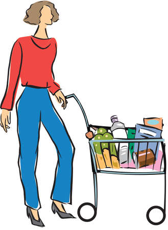 weekend activities: Woman standing with a shopping cart  Stock Photo