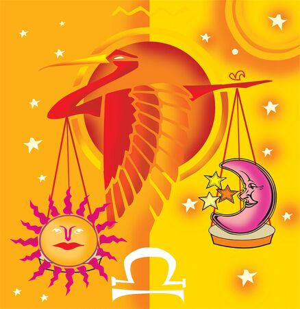 the art of divination: Libra; astrological sign with scale and bird  Stock Photo