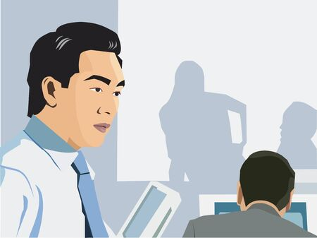 man rear view: Businessman in office