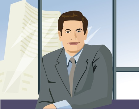 computer animation: Front view of a businessman looking at camera Stock Photo