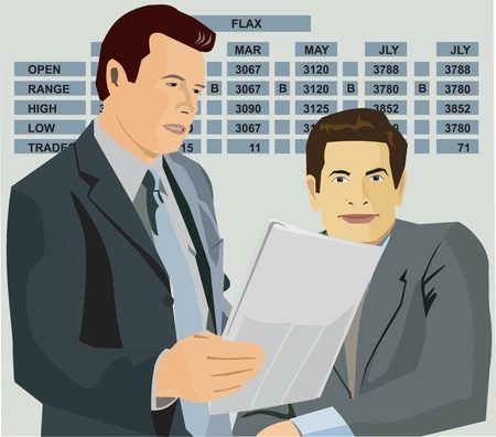 pictorial: Stockbrokers with chart behind Stock Photo