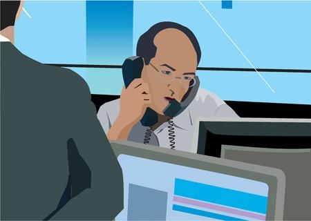 Businessman on phone at desk Stock Photo