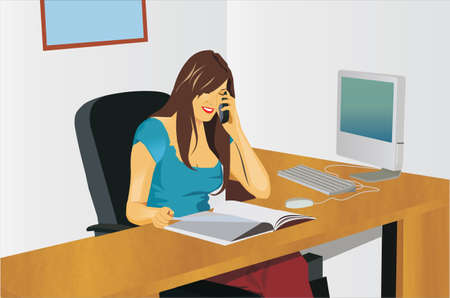 Vooraanzicht van een bedrijfsvrouw die op telefoon spreekt