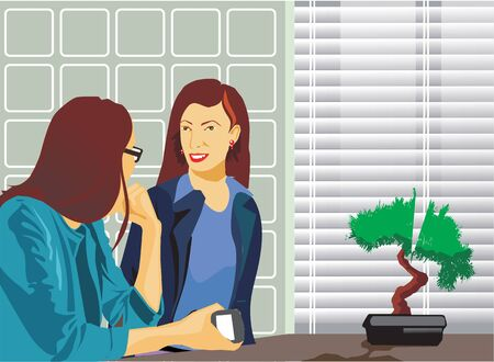 Businesswomen talking in office photo