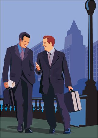 Front view of businessmen walking on road photo