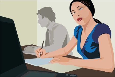 thoughtfulness: Business people working in office