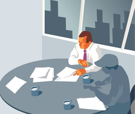 roundtable: Businessmen at round-table conference Stock Photo