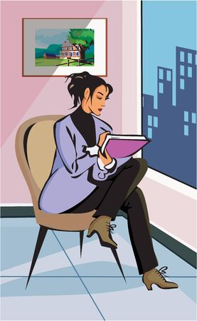 Businesswoman sitting on chair and writing Stock Photo - 9688852