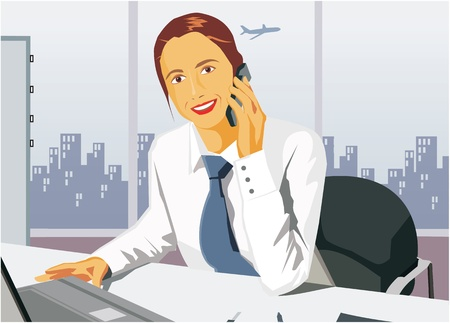 Front view of businesswoman smiling and talking on cell phone photo