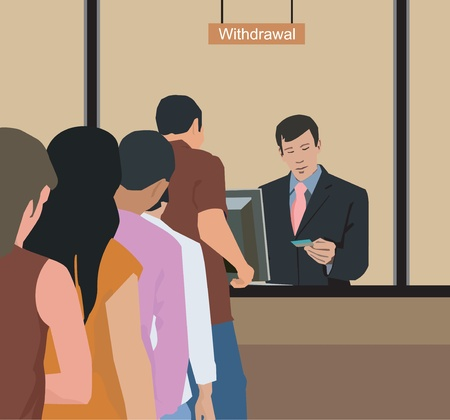 People withdrawing money at bank photo