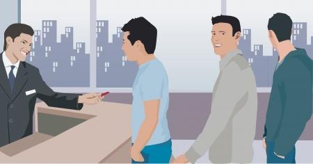 People taking token at bank photo