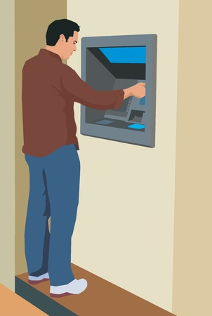 one man only: Young man using an ATM machine Stock Photo