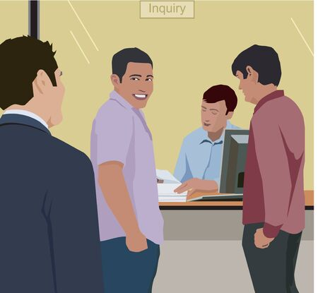 People standing at inquiry counter in bank