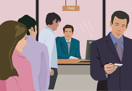 People standing at help counter in bank Stock Photo - 9688629