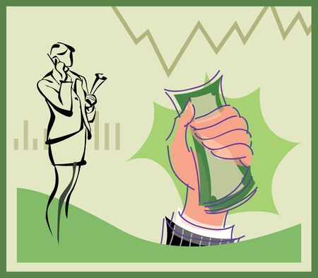 Businesswoman talking on cell phone and hand holding money Stock Photo - 9688804