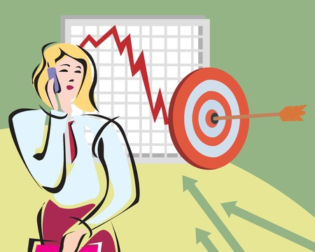 Businesswoman talking on cell phone and bull?s eye with arrow Stock Photo - 9688805