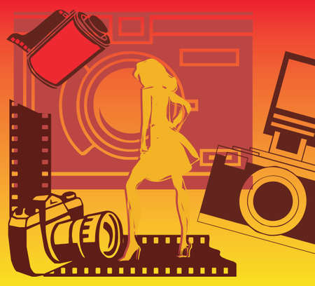 Woman with cameras and filmstrip photo