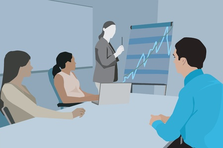 digitally generated image: Businesswoman giving presentation in front of her colleagues