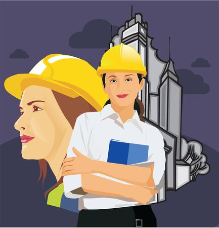 pictorial  representation: Female architects wearing hard hats Stock Photo