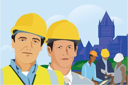 pictorial  representation: Construction workers with architectural buildings in background