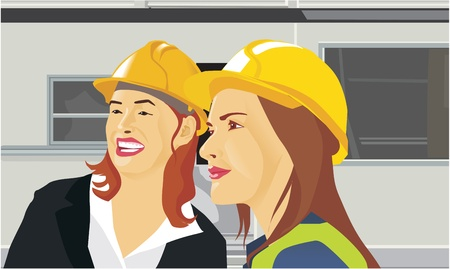 pictorial  representation: Close-up view of two female architects Stock Photo