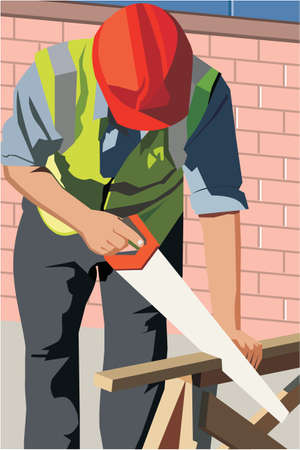 pictorial  representation: Front view of a construction worker cutting wood