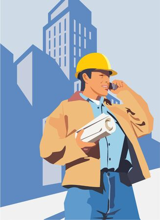 Construction worker talking on a mobile phone photo