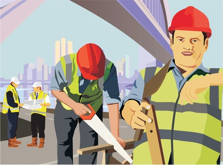 Construction workers at work on a construction site photo