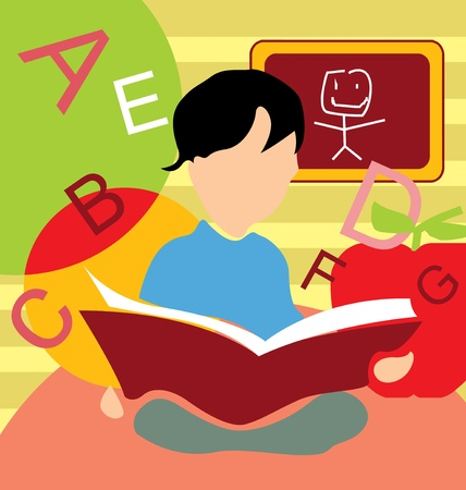 educational institution: Front view of a boy studying book