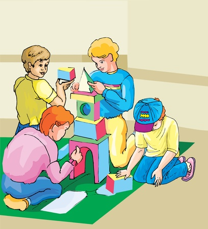 Children playing block game      photo