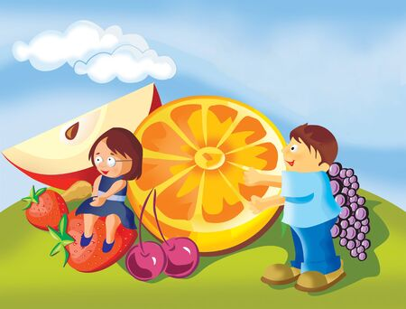 Boy and girl with fruits in a park photo